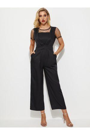 YOINS Black Cut Out Patchwork Short Sleeves Jumpsuit