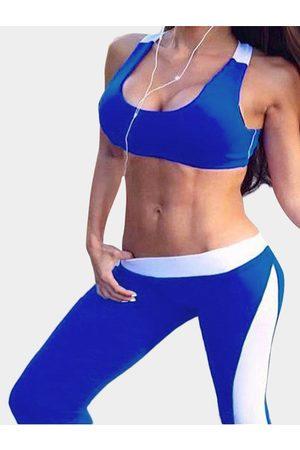 YOINS And White Fashion Yoga Bodycon Tracksuit