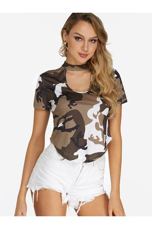 YOINS Cut Out Camouflage Pattern Crop Top