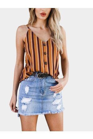 YOINS Multi Backless Design Stripe V-neck Sleeveless Camis