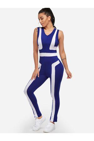 YOINS Zip Back Design Stripe V-neck High-waisted Tracksuit