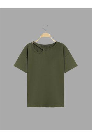 YOINS Casual Plain Army Single Strap T-shirt
