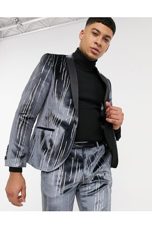Twisted Tailor Suit jacket with satin lapel in velvet with silver detail
