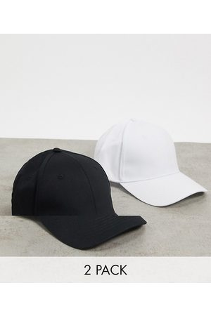 ASOS DESIGN 2 pack baseball cap in black and white cotton