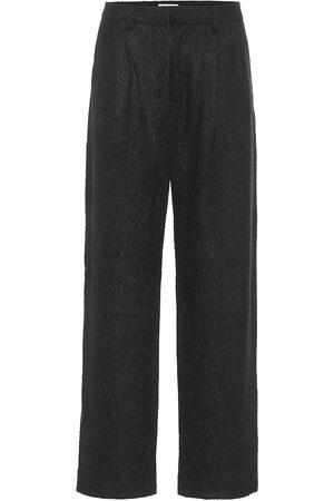 Deveaux New York Nicola high-rise straight tweed pants