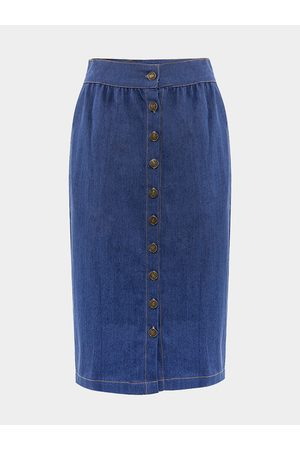 YOINS Button Front Denim Midi Skirt with Side Pocket