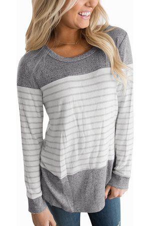 YOINS Light Grey Round Neck Long Sleeves Stripe T-shirt