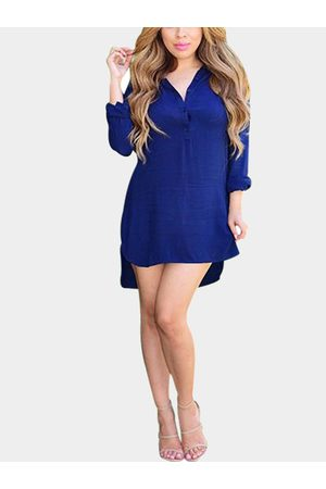 YOINS Navy Long Sleeve Shirt Dress with Step Hem