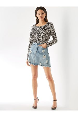 YOINS Leopard Round Neck Long Sleeves Knit Top