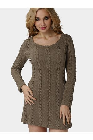 YOINS Women Knitted Dresses - Ladies Style Cable Knit Mini Dress