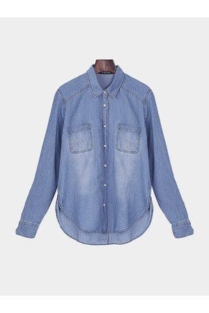 YOINS Denim Shirt In Mid Wash