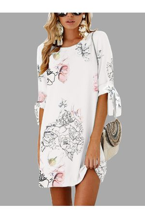 YOINS White Random Floral Print Self-tie at Sleeves Mini Dress