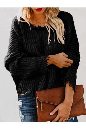 YOINS Black Random Ripped Sweater