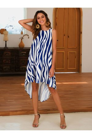 YOINS Zebra Round Neck Sleeveless Dress