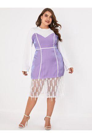 YOINS Plus Size Purple Patchwork Lace Long Sleeves Dress