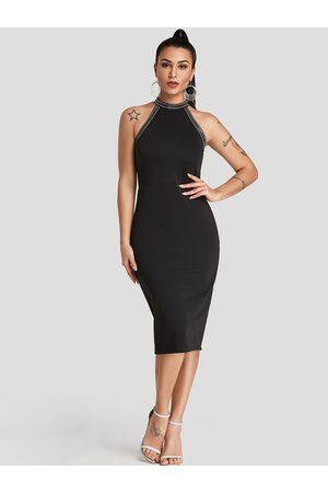 YOINS Sequins Embellished Halter Party Dress