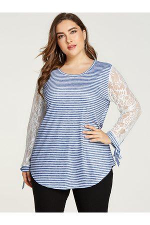 YOINS Plus Size Lace Stripe Round Neck Long Sleeves Tee