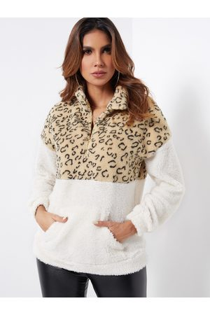YOINS Zipper Front Leopard Chimney Collar Long Sleeves Fluffy Sweatshirts