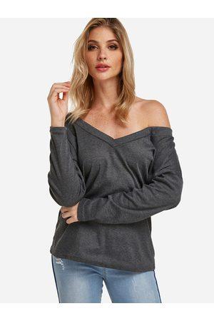 YOINS One Shoulder Design Deep V-neck Long Sleeves Tee