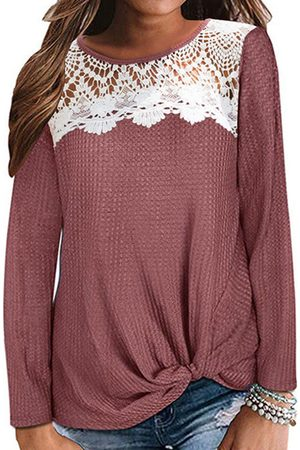 YOINS Women Long Sleeve - Red Lace Round Neck Long Sleeves Tee