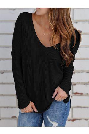 YOINS Slit Side Wide V-neck Long Sleeves Knitted Top