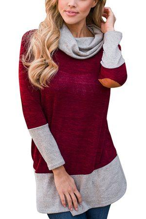 YOINS Color Block Cozy Roll Neck Colorblock Sweatshirt