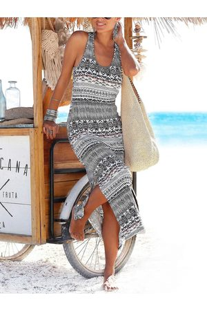 YOINS Tribal Lace Patchwork Thick Strap Sleeveless Dress