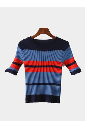 YOINS Stripe Pattern Knitted Round Neckline Jumper