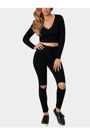 YOINS Women Pants - Hooded Cropped Suit With Hole Pant