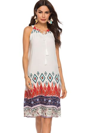 YOINS Tribal Print Tie-up Design Halter Sleeveless Dress