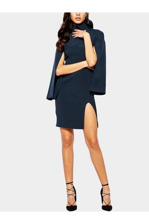 YOINS Cape Sleeve Turtle Neck Split Dress