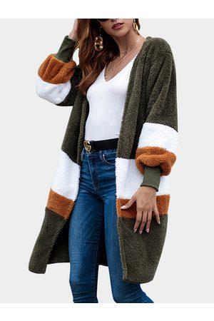 YOINS Army Color Block Long Sleeves Fluffy Faux Fur Cardigan