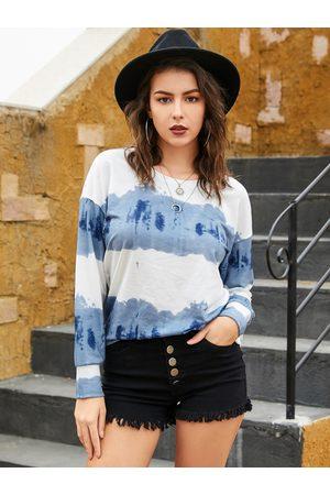 YOINS Blue Fantasy Colour Round Neck Long Sleeves Sweatshirt