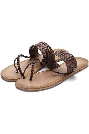 YOINS Women Flats - Woven Strap Toe Post Fashion Style Flat Slippers