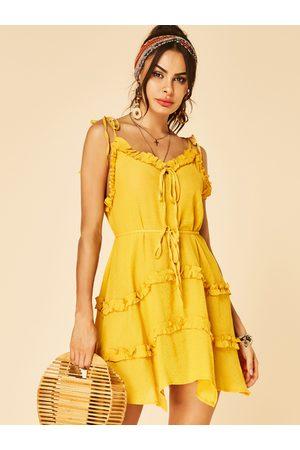 YOINS Women Sleeveless Dresses - Spaghetti Strap Lettuce-edge V-neck Sleeveless Dress