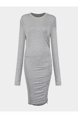 YOINS Grey Bodycon Dress with Front Pleats