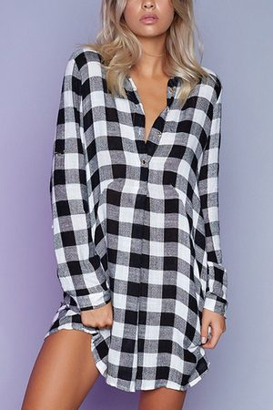 YOINS Casual Grid Button Design Long Sleeve Shirt Dress