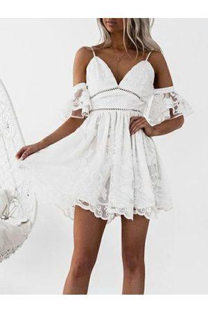 YOINS Backless Design Deep V Neck Short Sleeves Dress