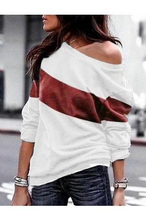 YOINS Women Long Sleeve - Color Block Round Neck Long Sleeves Tee