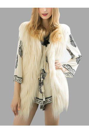 YOINS Beige Fashion Sleeveless Artificial Fur Coat