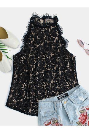 YOINS Women Halterneck Tops - Lace Button Design Pure Color Halter Sleeveless Top