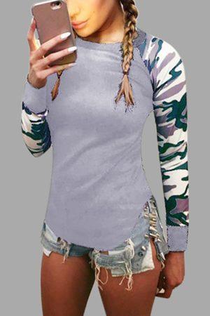 YOINS Women Long Sleeve - Camouflage Crew Neck Long Raglan Sleeves T-shirt