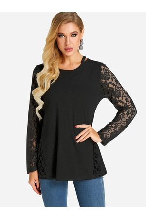 YOINS Women Long Sleeve - Lace Insert See Through Design Round Neck Long Sleeves T-shirts