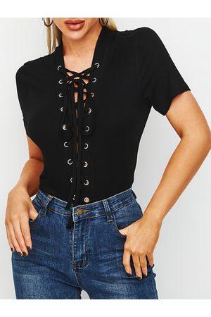 YOINS Black Lace-up Design Plain Deep V Neck Short Sleeves Tee