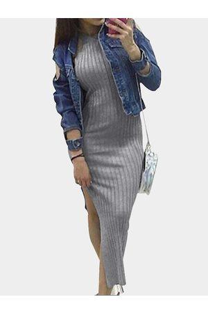 YOINS Knit Halter Neck Slit Side Bodycon Midi Dress