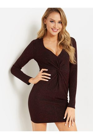 YOINS Knotted Front Design V-neck Long Sleeves Glitter Dress