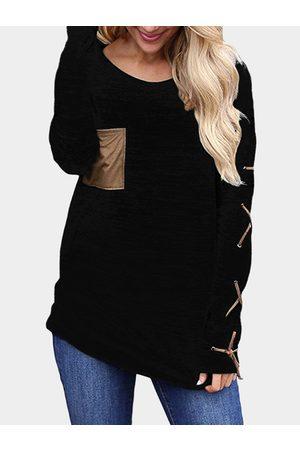 YOINS Women Long Sleeve - Lace-up Design Plain Round Neck Long Sleeves T-shirt