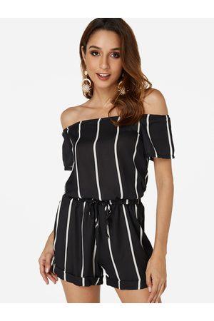 YOINS Backless Design Stripe Off The Shoulder Short Sleeves Playsuits