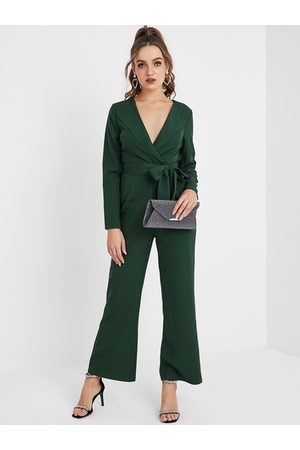 YOINS Green Belt Design Long Sleeves Jumpsuit