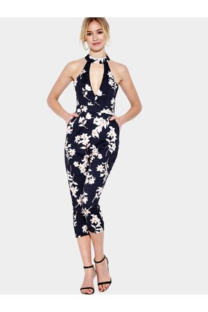 YOINS Navy Floral Print Sleeveless Choker Jumpsuit with Open Back